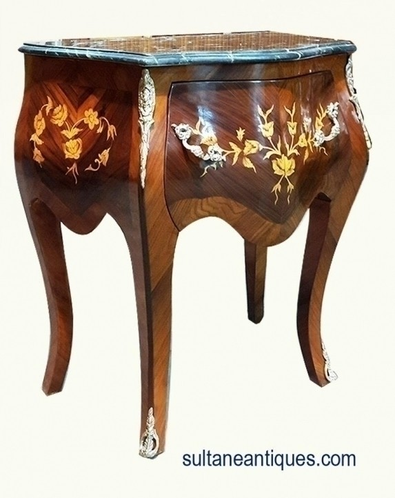 New In Weeks Commode Side Table Marble Top Louis Style