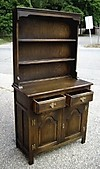 Antique solid English Dark Oak Dresser bookcase