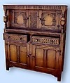 MONUMENTAL!! English 1890s solid oak court cupboard