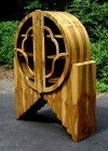 STUNNING Art Deco inspired bookcase olive wood