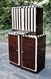 Bar Sideboard Art Deco style walnut and Ivory stripes