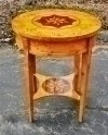 Gold maple inlaid Empire Occasional Cocktail side table