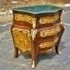 Fabulous Louis Style Bombe Commode Inlaid Green Marble