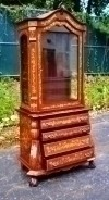 Important Dutch Marquetry Vitrine cabinet bookcase