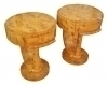 Pair side commodes cocktail tables burl