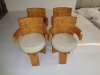 Set of four Art Deco style French Elm wood chairs