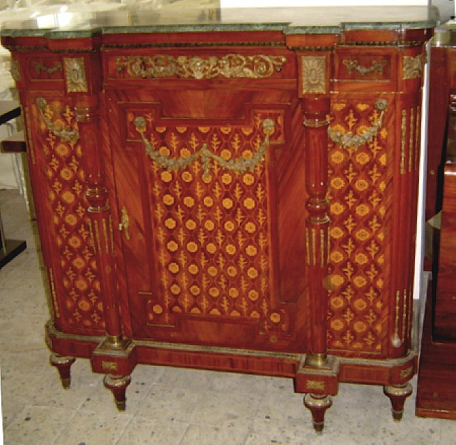 MONUMENTAL Louis XVI marble top marquetry chest