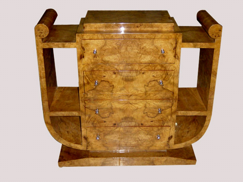SUPERB Art Deco style olive wood Console-Credenza
