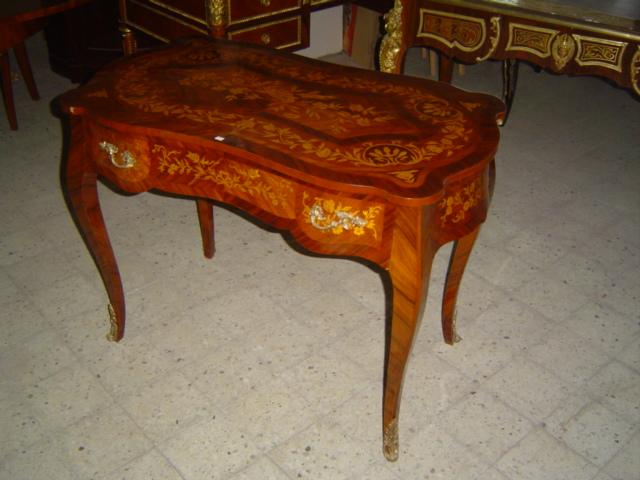 Dutch Antique Style 1 Drawer Marquetry Desk 5033f